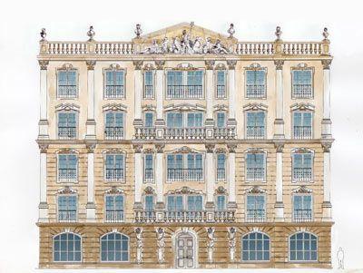 Эскиз фасада отеля  в классической манере с римскими мотивами.