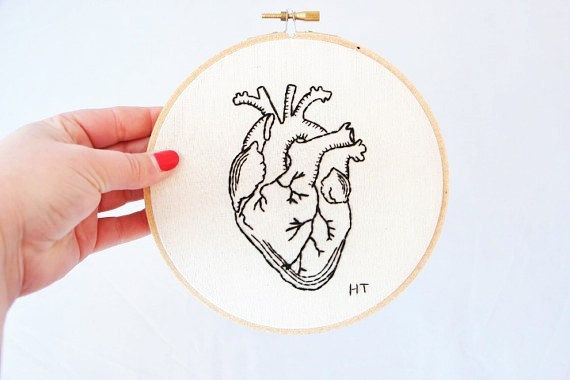 This hand stitched anatomical heart hoop art has been hand drawn and then carefully hand stitched using top quality black threads. This eye