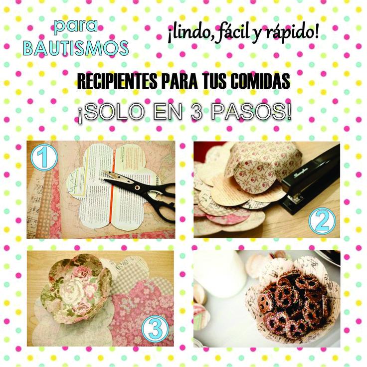 .Hace más originales las mesas, con recipientes reciclados y sorprende a tus invitados.  #ropa #fiestas #bautismo #tutoriales #mujeres #chicas #cortejo #moda #decoración #DIY #souvenirs #reciclaje #adornos #vasos #copas #bebes #manualidad