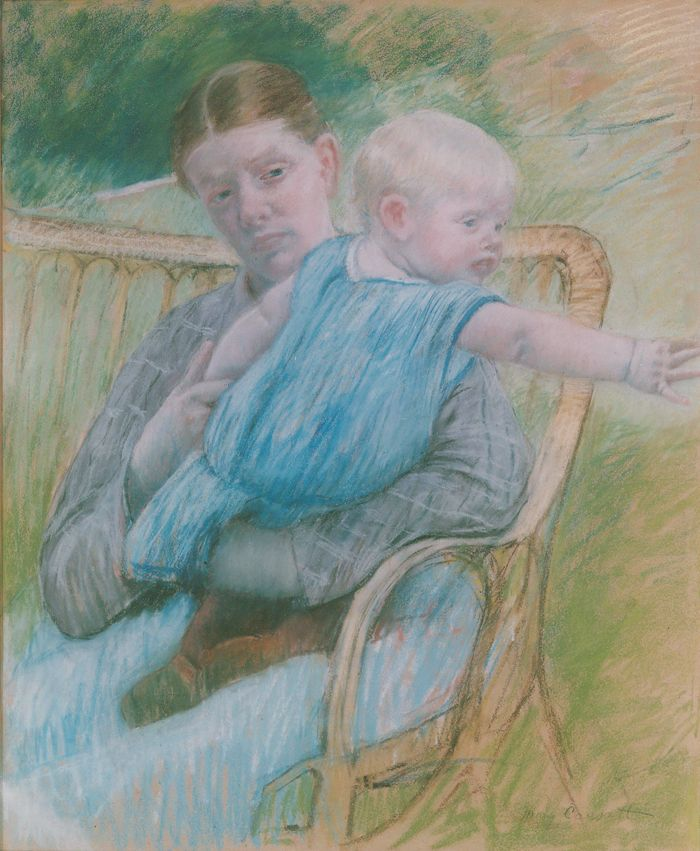 Artwork By Mary Cassatt Mathilde Holding Baby Who Reaches Out To Right Circa 1889 Made Of Pastel On Paper
