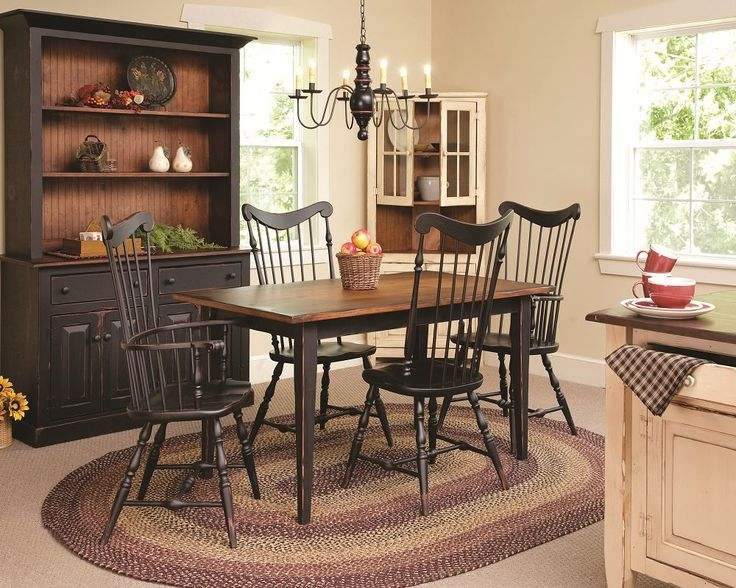 primitive kitchen | Primitive Dining Table Chairs Set Farmhouse Furniture Harvest Country ...