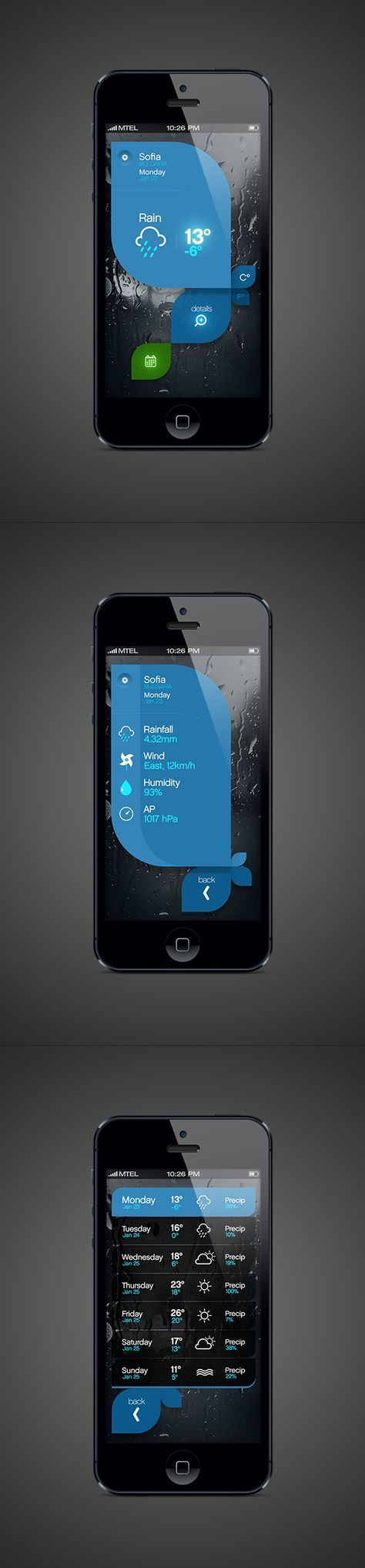 Weather App by Tsvetelin Nikolov, via Behance