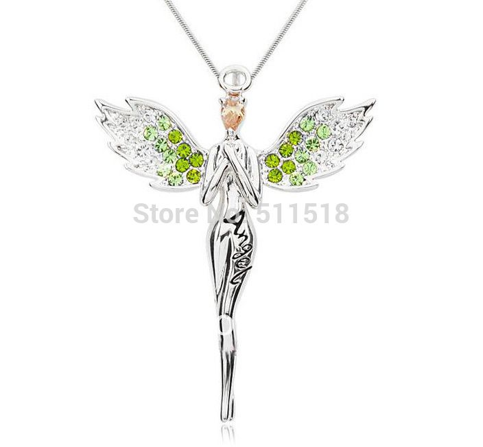 Charme exquis populaire haute qualité collier d'aile d'ange avec plein cristal pendentif collier livraison gratuite LM-N017
