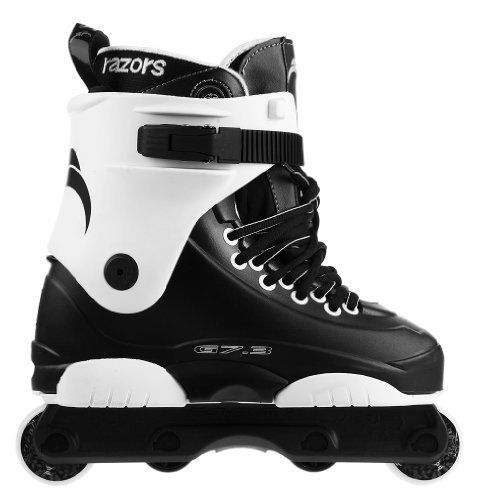 Razors Genesys 7.3 Aggressive Skates 2012 by Razor. $189.00. GC Featherlite v.2 frame / RZR 56mm 90a outer wheels / GC 42mm nylon anti rockers. Comfortable Genesys Liner. Sold as a pair ready to roll out of the box!. New Redesigned backslide plate area. The Razor Genesys skate has become the gold standard for mid priced range skates as it remains as one of the most popular aggressive skates of all time. The Genesys skate is perfect for rollerbladers of all skill levels and is a s...