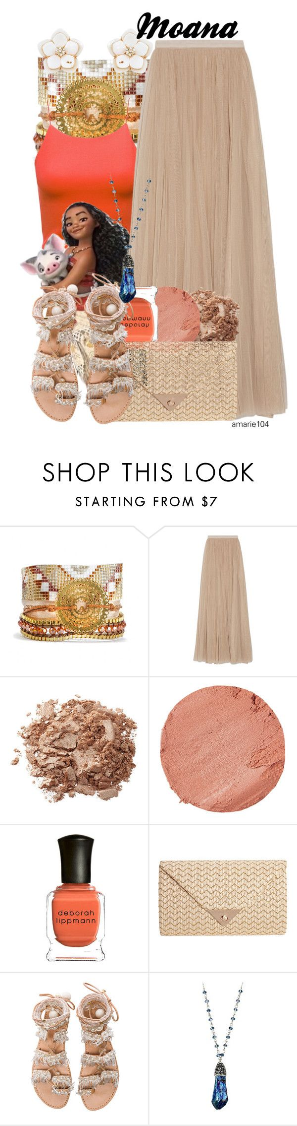 """Moana"" by amarie104 ❤ liked on Polyvore featuring Hipanema, Needle & Thread, Lipstick Queen, Deborah Lippmann, JNB, Elina Linardaki and Accessorize"