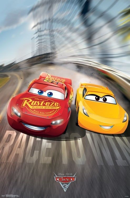 Cars 3 Movie Poster 22x34 Disney 15233 Race To Win Art Art Posters