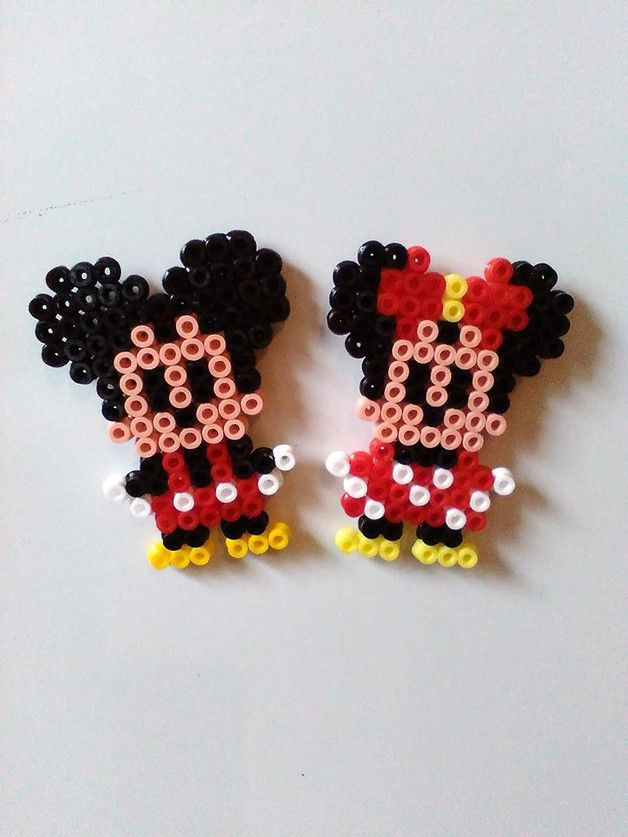 Mickey and Minnie Mouse magnets hama beads by Astrid-Zauberstuebchen