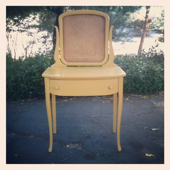 Vintage 1940s Canary Vanity Single Drawer Table Mirror Console By Sligh Furniture Co Vintage