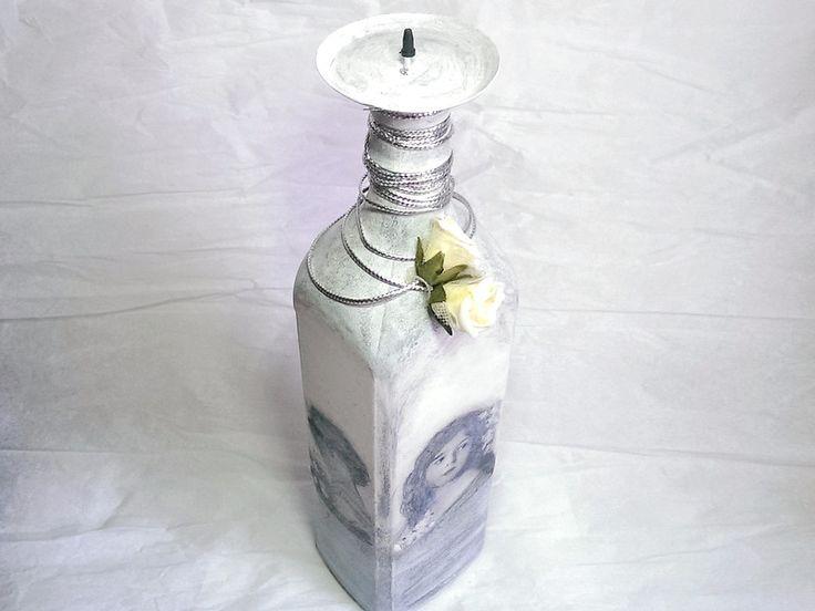 Unikatowy świecznik z recyklingu 4- vintage w SrokaArt na DaWanda.com