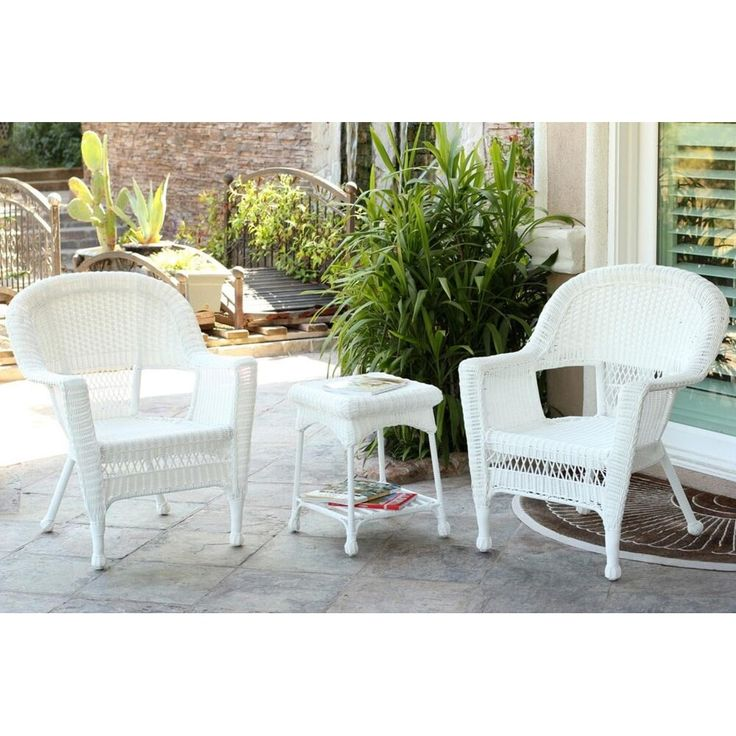 Jeco 3 Piece White Resin Wicker Patio Chairs And End Table Furniture Set,  Patio