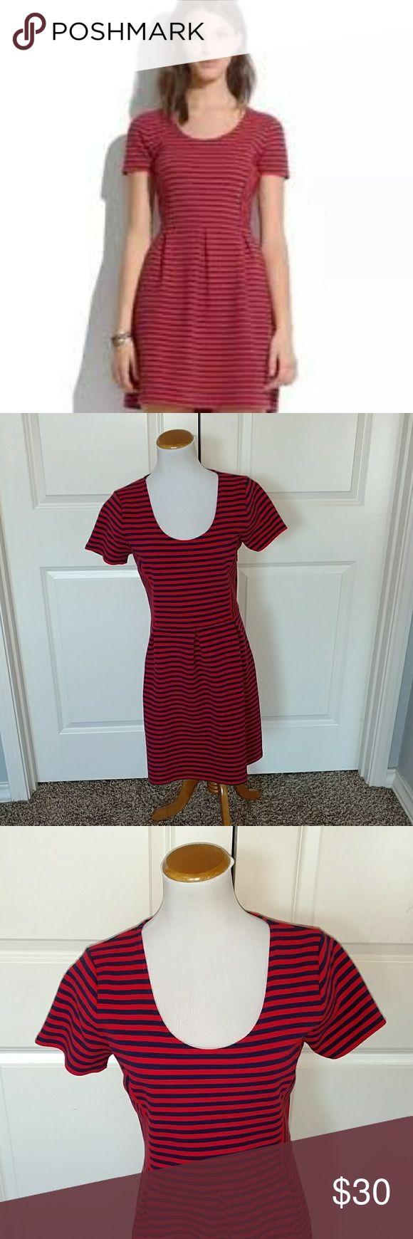 J.Crew Red and Blue Striped Dress J.Crew red and blue striped dress. In excellent condition. Size 10. J. Crew Dresses Midi