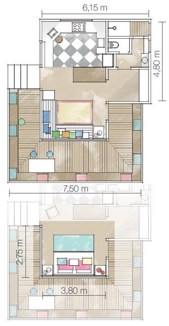 Os móveis precisam ser leves, fáceis de deslocar, para que a mudança da configuração do quarto em sala não vire um transtorno.
