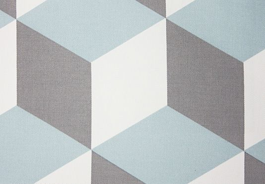 Cubes Fabric A geometric design printed fabric in duck egg blue and mole on an off white cotton.