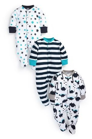 White All Over Print Dinosaur Sleepsuits Three Pack (0mths-2yrs)