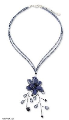 Amazon.com: Beaded flower necklace, 'Blue Camellia': Jewelry