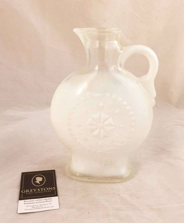 Pressed Clear and Milk Glass Decanter  $30