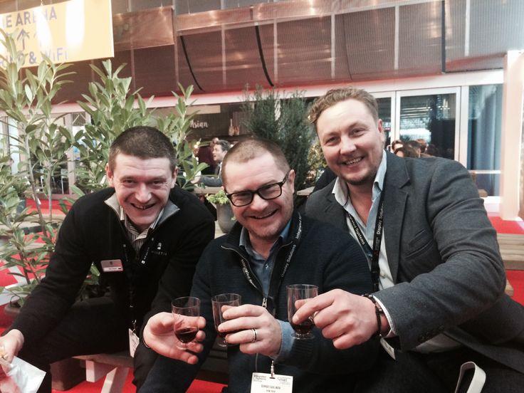 #spinetix Nikita (SpinetiX), Sergey and Alexander (KVM Technologies) at #Integratedsystemseurope 2016  Hall 8 entrance Треш, угар и вежливые люди уже на месте