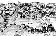 Old Algiers in the 16th century, with the Spanish-built Peñón of Algiers in the forefront