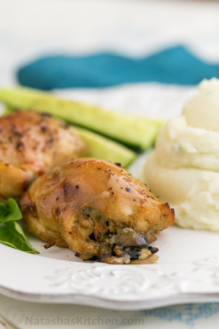 Baked Mushroom Stuffed Chicken Thighs - Natasha's Kitchen