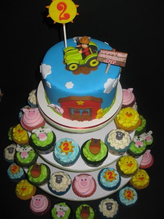Farm Birthday Cake & Cupcakes
