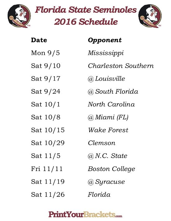 Printable Florida State Seminoles Football Schedule 2016