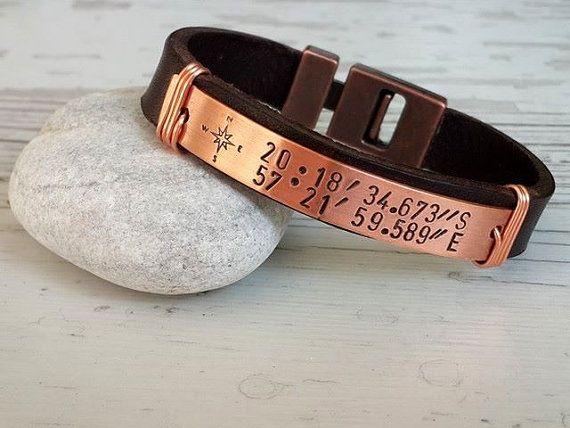 Coordinate BraceletCustom Leather Bracelet Engraved by tovvanda