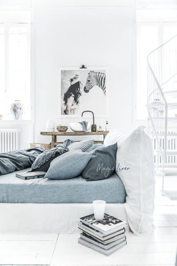 Queen Custom bed sheets King Linen fitted sheet in Blue Melange Washed linen bedding.