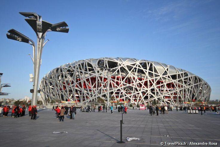 """TravelPics.fr – Jeux Olympiques 2008 – le Stade National de Pékin surnommé """"Nid d'Oiseau"""""""