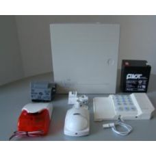Kit format dintr-o centrală PC1616 (tastatura inclusă), transformator TC45/16, un acumulator PL-5AH și unul PL-2,3AH, doi detectori LC100PCI cu suporți originali LC-MBS, o sirenă de exterior LADY-PI, un contact magnetic aparent MC-08W