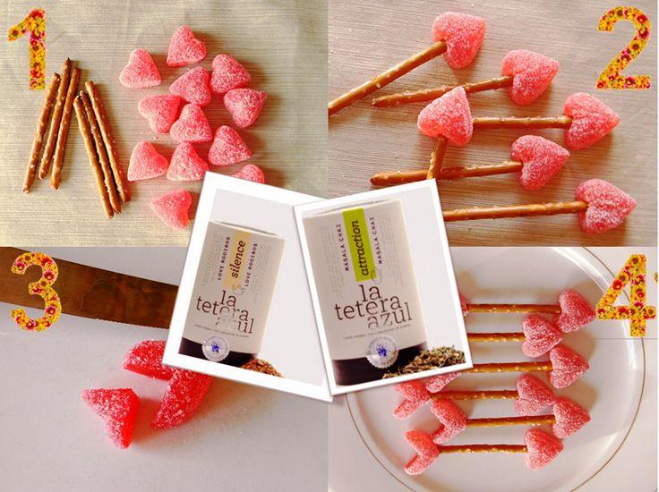 Sólo queda un suspiro para #sanvalentin. ¿Aún no sabes qué regalar? LoveRooibos&MasalaChai es el equilibrio perfecto entre lo romántico y lo exótico. #tresideaspormenosde30euros Y para ponerle la nota divertida a tu día de los #enamorados, este #diy con palitos de pretzel y gominolas de corazón #valentine #valentinesday #valentinesgifts #diy