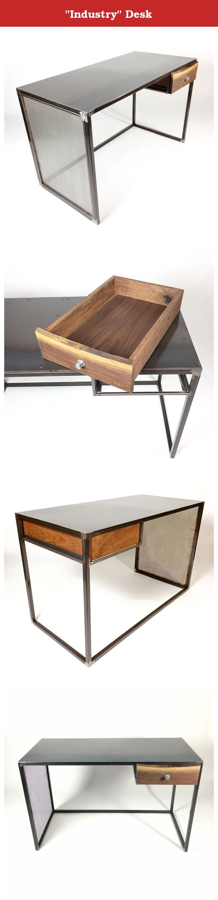 """""""Industry"""" Desk. Simple Bold Design and Zero Mechanics.. This Sums Up the Industry Desk. Welded Framework is 1"""" Tube Carbon Steel. Side Insert of Perforated Sheet Metal in a 1/2"""" Tube Steel Frame. Top Surface Smooth Hot Rolled Sheet Steel Hand Formed to Fit. A Single Drawer is made Completely of American Black Walnut and Features High Strength Joinery. Face Board Boasts a Live Edge and a 3/4"""" Bolt Handle. The Walnut is Conditioned with a Natural Teak Oil and the Lower Corner Rails are…"""