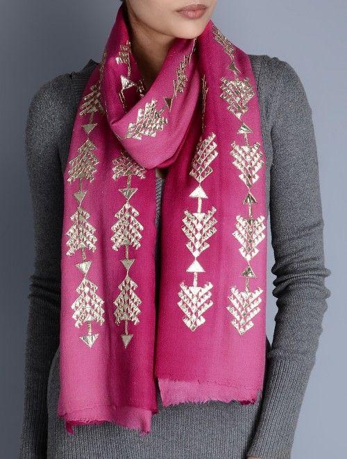 Pink-Fuschia Gota Patti Cashmere Wool Stole
