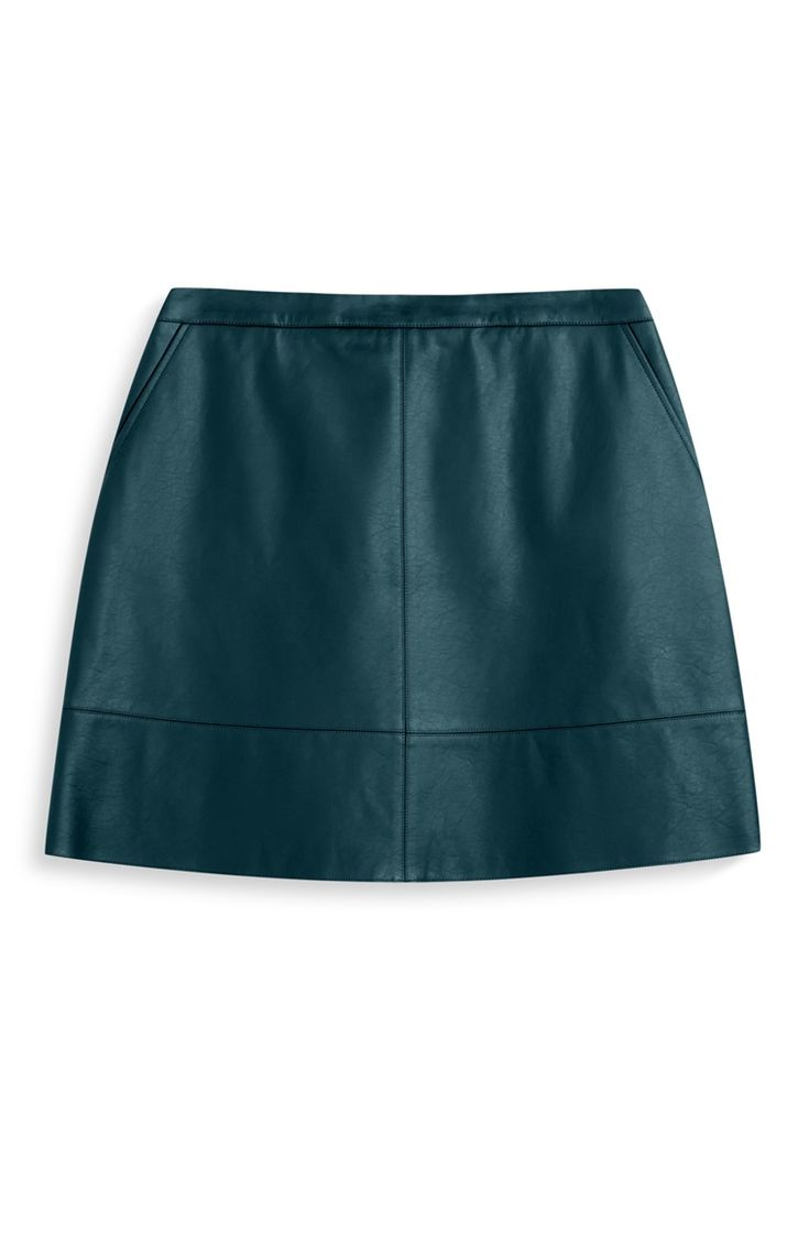 Green PU A-line Mini Skirt