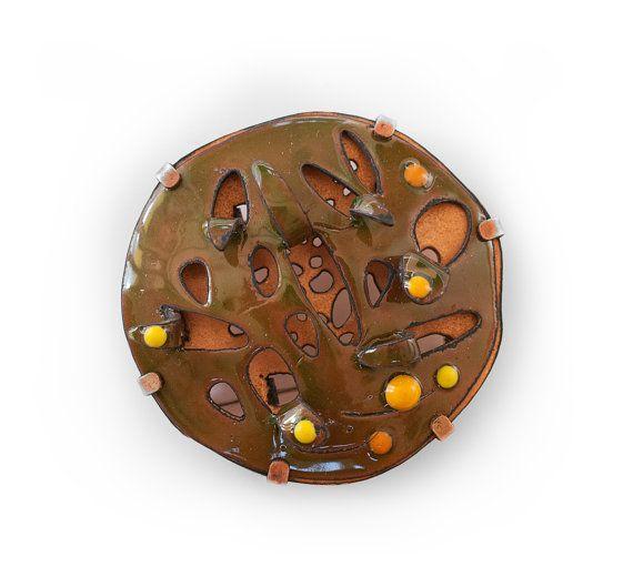 Green enamel brooch Contemporary art brooch Author jewelry