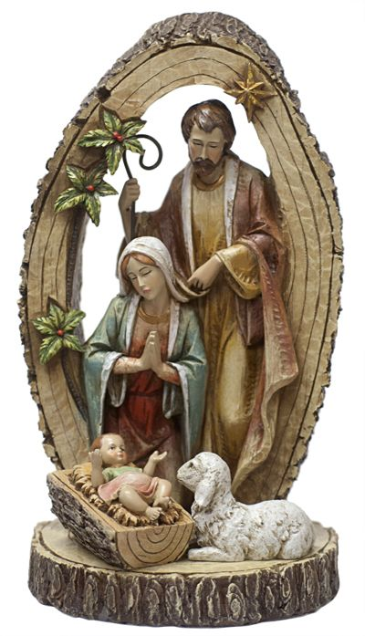 The Holy Family. At just over a foot tall, this nativity scene fits with any decor, and shows the Holy Family encircled by the tree of life.