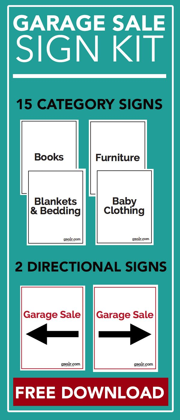 Download this printable garage sale sign kit to use at your next garage sale. This kit includes sale signs, arrows & category labels.