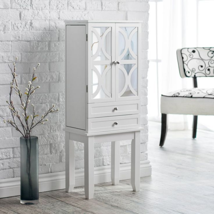 Belham Living Mirrored Lattice Front Jewelry Armoire - High Gloss White - Jewelry Armoires at Hayneedle