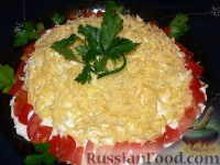 Фото к рецепту: Слоеный салат с крабовым мясом