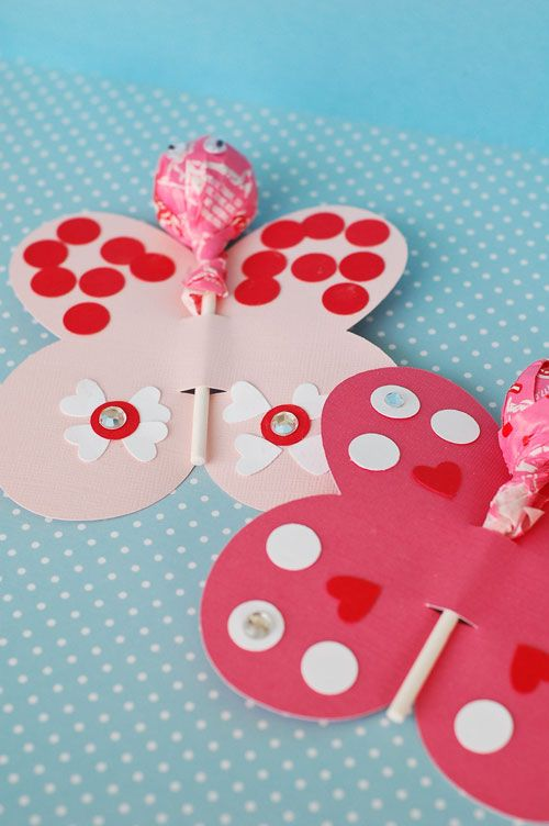 all things simple: butterfly die cut or cut out and lollipop-- party hearty: a valentine's craft