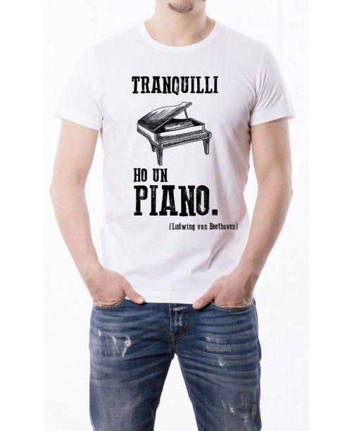 T-shirt fiammata Tranquilli ho un piano