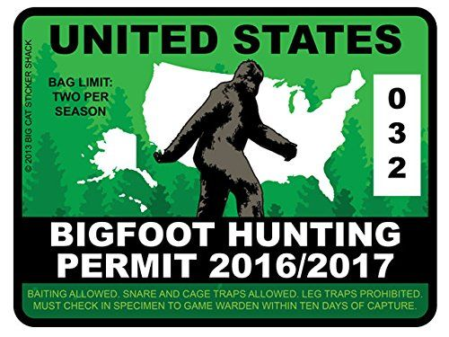 17 best images about bigfoot hunting permits accessories for Washington dc fishing license