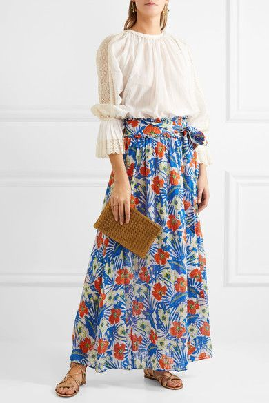 Etro - Printed Silk-seersucker Maxi Skirt - Azure - IT44