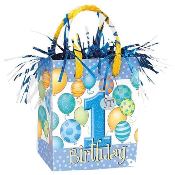 1 Yaş Balonlu Mavi Renk First Birthday Mini Çanta Şeklinde Balon Ağırlığı