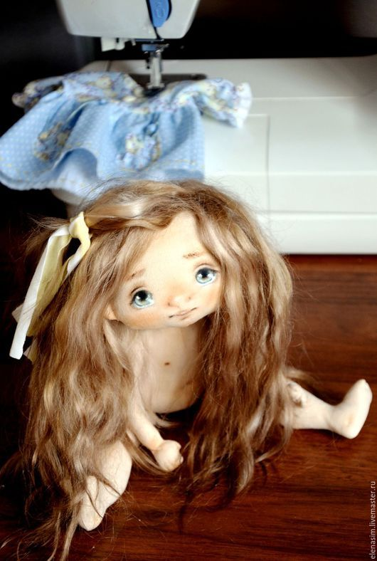Коллекционные куклы ручной работы. Ярмарка Мастеров - ручная работа. Купить Неженка Яся. Handmade. Голубой, подарок, выкройка куклы
