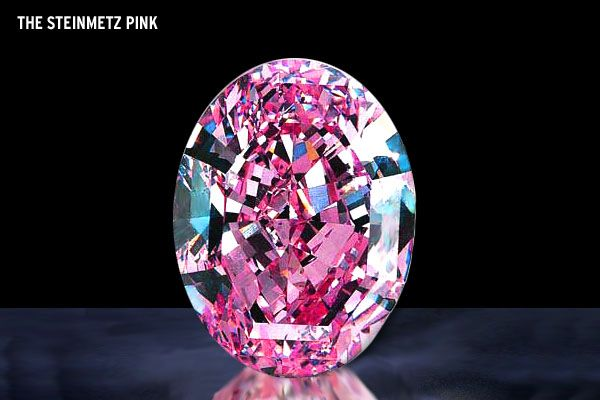 The Steinmetz Pink Diamond.  The price is $25,000,000.00. This superb gem has a definite size of 59.60 K or 11.92 grams. It was appraised by the intense observation and study of the American Gemological Institute as color Pink. According to their records, this diamond is the largest ever recorded pink diamond discovered. This superb diamond is being exhibited in the splendor of diamonds by Smithsonian Gallery.