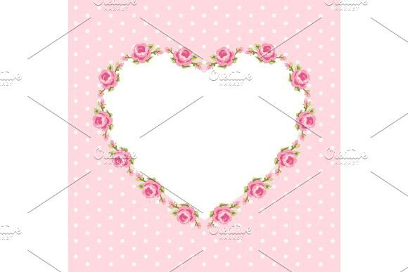 Retro floral heart shape frame with roses in shabby chic style #shabby