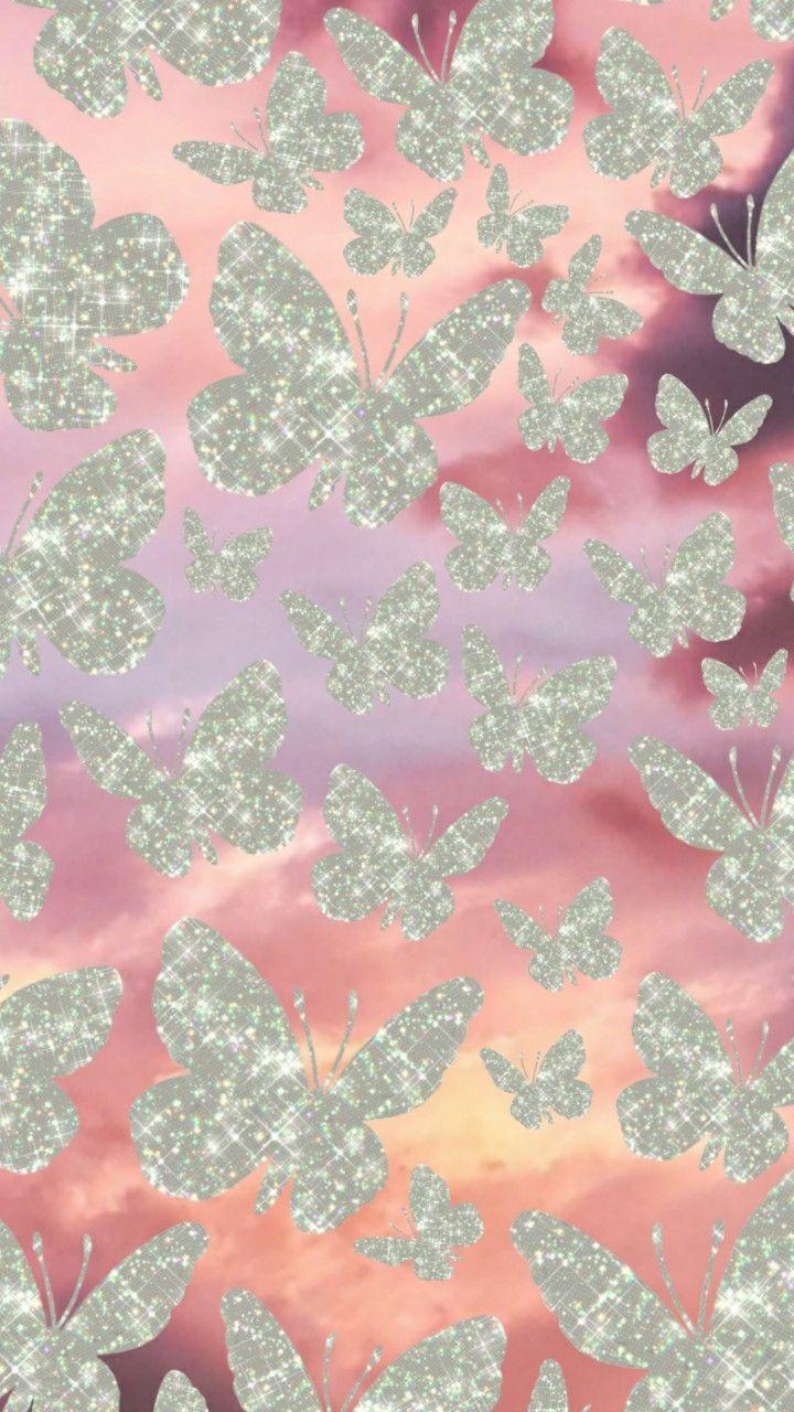 Glitter butterflies wallpaper in 2020 | Butterfly ...