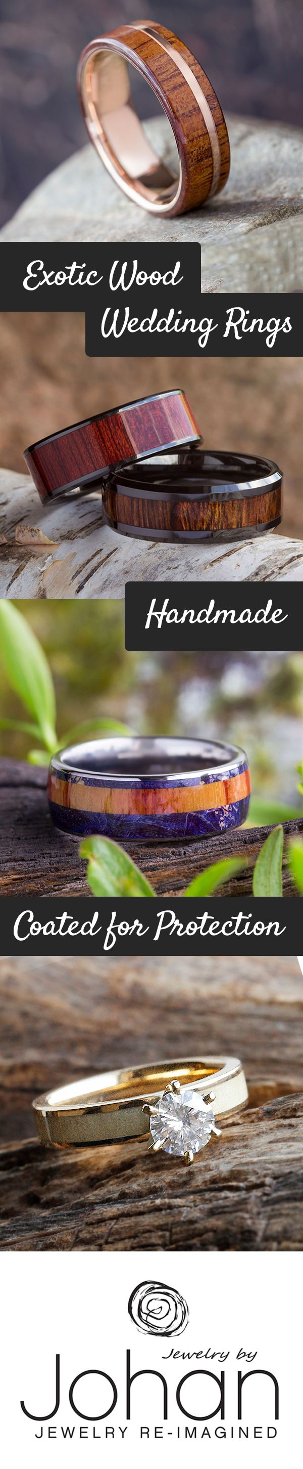 Wood wedding bands boast an abundance of natural beauty and style.