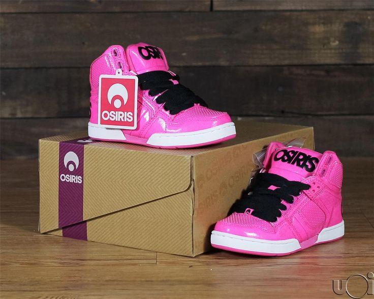 New Kids Youth NYC 83 Osiris Skate Shoes Black Shiney Patent Pink Boys  Girls | eBay