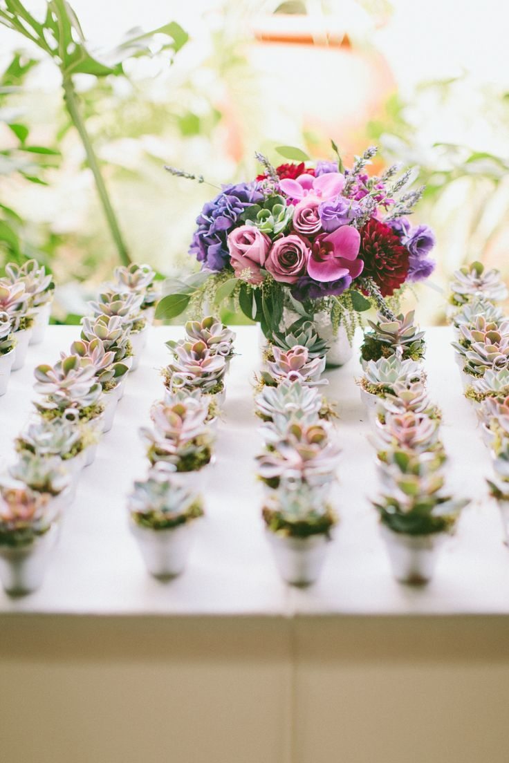 Succulent Place Card Holders, Escort Card Holders, Favors Rustic Purple  Wedding Orchids